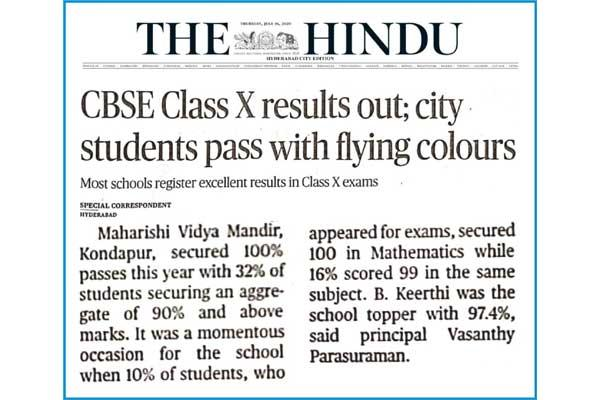 MVM HYDERABAD: CBSE Class X results. The school Maharishi Vidya Mandir Hyderabad secured 100% results. B. Keerthi tops the school with 97.4%. Many students scored 100 out of 100 in Mathematics.
